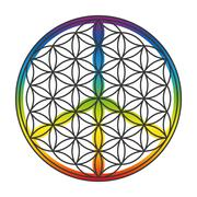 Flower Of Life Peace Symbol Superimposed - stock illustration