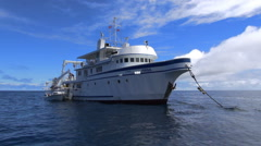 Research ship - Cocos Island, Isla del Coco, Costa Rica Stock Footage
