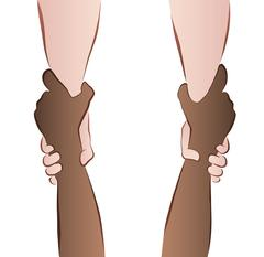 Helping Saving Hands Rescue Grip Interracial Stock Illustration