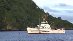 Costa Rica Coast Guard boat anchored in Cocos Island - Isla del Coco, Costa Rica Stock Footage