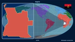 Angola - 3D tube zoom (Mollweide projection). Continents - stock footage