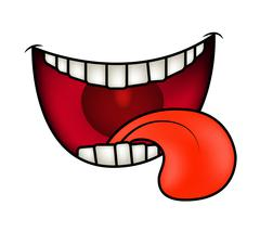 Stock Illustration of Cartoon smile, mouth, lips with teeth and tongue. vector illustration isolate