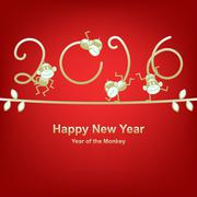 New Year 2016 greeting, year of the monkey Stock Illustration