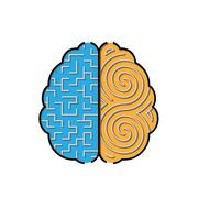Left and right brain with mazes inside concept - stock illustration