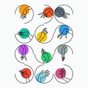 Set of vector icons of linear mapping graceful female hands in different - stock illustration