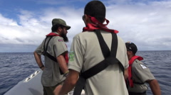 National Park rangers on a boat - Cocos Island, Costa Rica Stock Footage