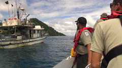 Fishing boat inspection. Ranger inspecting in Cocos Island Park- Costa Rica Stock Footage