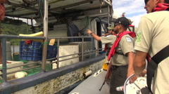 Stock Video Footage of fishing boat inspection. Ranger inspecting in Cocos Island Park- Costa Rica