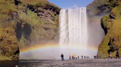 Double rainbow from waterfall Skogafoss Stock Footage