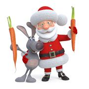 3d Santa Claus and hare with carrot - stock illustration