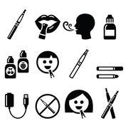 Electronic cigarette, e-cigarette and accessories icons - stock illustration