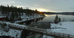 Aerial view of Lake Storsvenningvatnet. Stock Footage