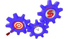 Three cogs with project management components Stock Illustration