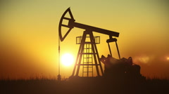 Looped animation of Oil Pump working at Sunset. Bright Sun. Stock Footage