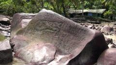Jacques Cousteau rock in Cocos Island - Isla del coco Costa Rica Stock Footage