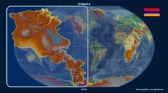 Armenia - 3D tube zoom (Kavrayskiy VII projection). Relief - stock footage