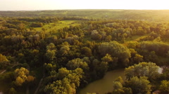 Aerial videography landscape nature tree and river crossing in the city Stock Footage