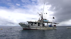 Stock Video Footage of illegal long line fishing boat in Cocos Island National Park - Costa Rica