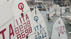 the  young sailors boys compete - stock footage