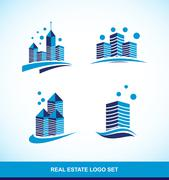 Real estate blue building skyscraper logo - stock illustration