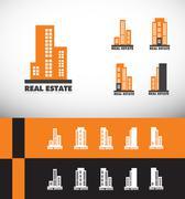 Real estate building skyscraper logo - stock illustration