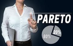 Pareto touchscreen is operated by businesswoman - stock photo