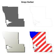 Grays Harbor County, Washington outline map set Stock Illustration