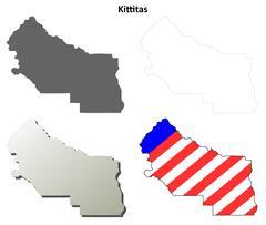 Kittitas County, Washington outline map set - stock illustration