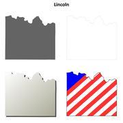 Lincoln County, Washington outline map set Stock Illustration