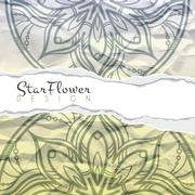 Vector background of crumpled torn paper with floral circular pattern. Mandala - stock illustration