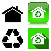 Green Home Recycle Environment Sustainable Building Icon Series Illustration Stock Illustration