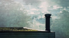 Smoking Vent On Roof In The Morning Stock Footage