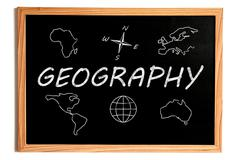 Geography Chalk Text and Related Symbols on Chalkboard on White Background - stock illustration