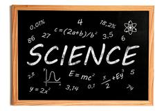 Science Chalk Text and Related Symbols on Chalkboard on White Background - stock illustration