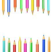 Set of Wooden Crayons Illustration on White Background - stock illustration