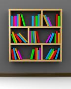 Wooden Bookshelf on Grey Background 3D Illustration - stock illustration
