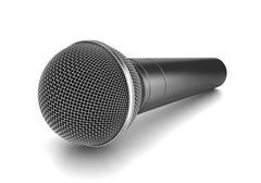 Metallic Microphone on White Background 3D Illustration, Studio Shot Stock Illustration