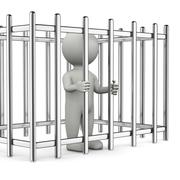 One Single White Character Standing in a Metal Cage 3D Illustration on White Stock Illustration