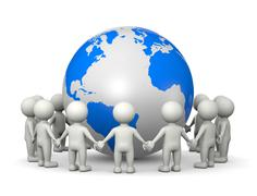 White 3D Characters Holding Hands Arranged in a Circle Around the World Illus Stock Illustration