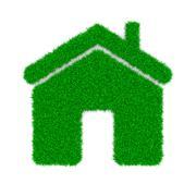 Grass Home Sign Shape on White Background 3D Illustration - stock illustration