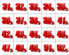 Red Percentage Numbers Series on White Background Illustration Stock Illustration