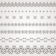 Set of vector filigree star, flowers, borders, frames and brushes of various - stock illustration