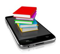 Smartphone with a Pile of Colored Books on Display 3D Illustration Stock Illustration