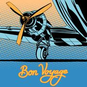 Bon voyage retro travel airplane poster - stock illustration