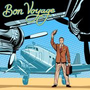 Stock Illustration of Businessman meets or accompanies departure aircraft