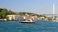 Bosporus, Ortakoy coast from the waterside in Istanbul, Turkey Stock Footage