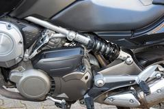 Close up of a classic motorcycle with lots of chrome details Stock Photos