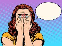 Surprised shocked woman - stock illustration