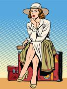 Retro girl passenger with a ticket Stock Illustration
