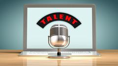 Talent recruitment through the internet - stock illustration